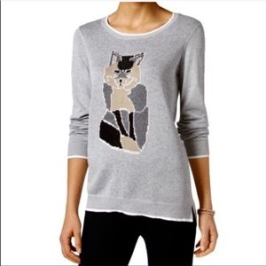 Bass gray Fox graphic novelty knit Sweater medium